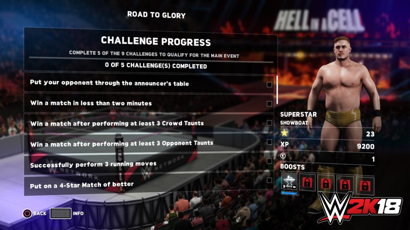 ROAD TO GLORY (CHALLENGE PROGRESS SCREEN)